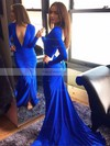 Trumpet/Mermaid V-neck Jersey Court Train Ruffles Prom Dresses #Favs020102179