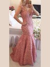 Trumpet/Mermaid V-neck Lace Sweep Train Appliques Lace Prom Dresses #Favs020102205