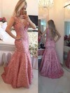 Trumpet/Mermaid V-neck Sweep Train Tulle Prom Dresses with Appliques Lace Beading #Favs020102205