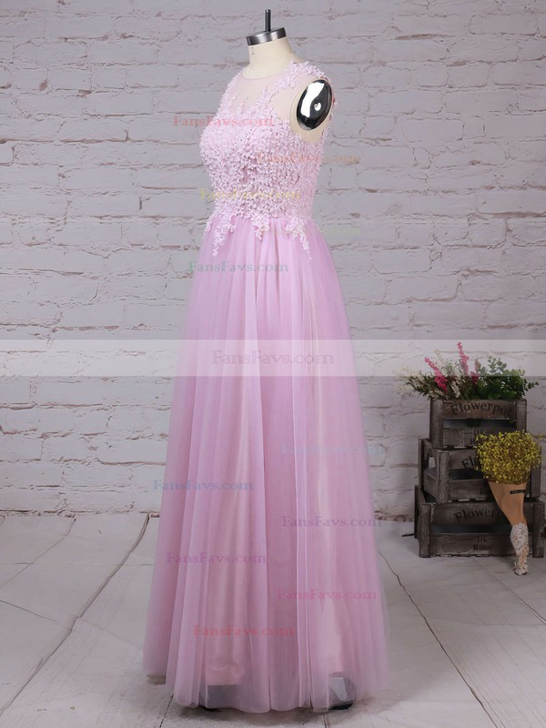 A-line Scoop Neck Tulle Floor-length Appliques Lace Prom Dresses #Favs020102317