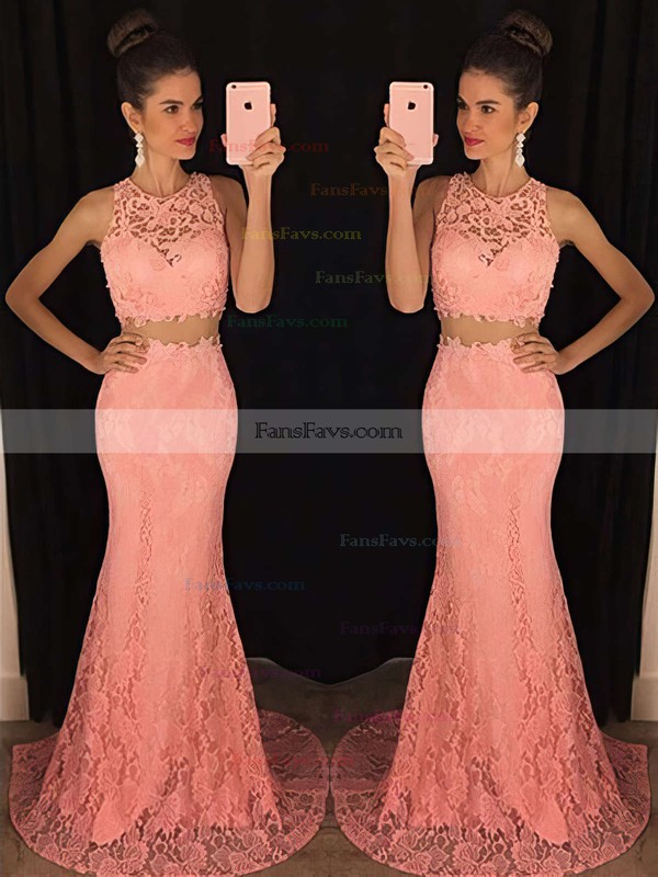 Trumpet/Mermaid Scoop Neck Lace Sweep Train Appliques Lace Prom Dresses #Favs020102334