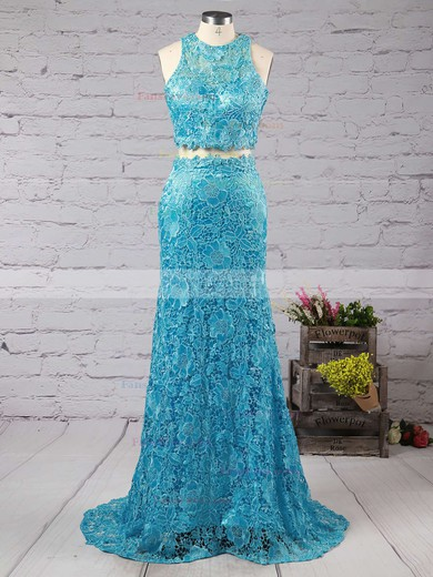 Trumpet/Mermaid Scoop Neck Sweep Train Lace Prom Dresses with Appliques Lace Beading #Favs020102334