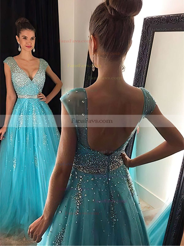 Princess V-neck Tulle Floor-length Beading Prom Dresses #Favs020102401