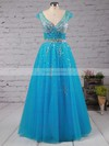 Princess V-neck Floor-length Tulle Prom Dresses with Beading #Favs020102401