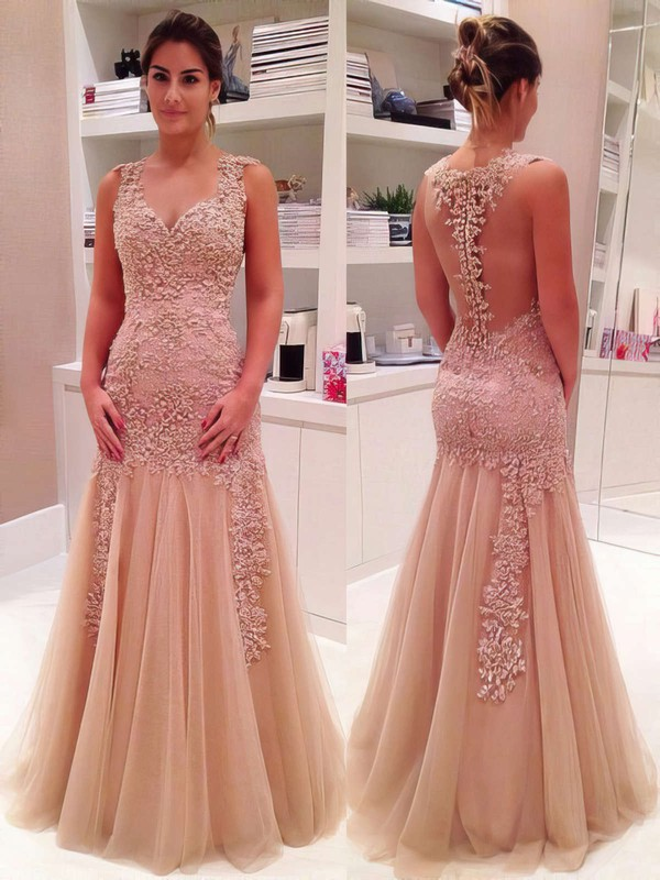 Trumpet/Mermaid V-neck Floor-length Tulle Prom Dresses with Appliques Lace #Favs020102421