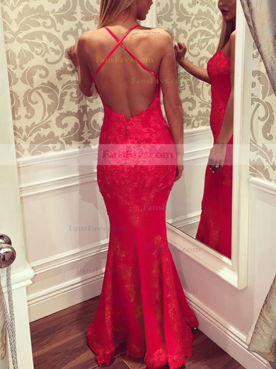 Trumpet/Mermaid Sweetheart Floor-length Lace Prom Dresses with Appliques Lace #Favs020102434
