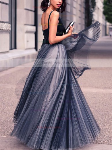 Princess V-neck Floor-length Tulle Prom Dresses with Pleats #Favs020102454
