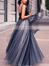 Princess V-neck Satin Tulle Floor-length Pleats Prom Dresses #Favs020102454