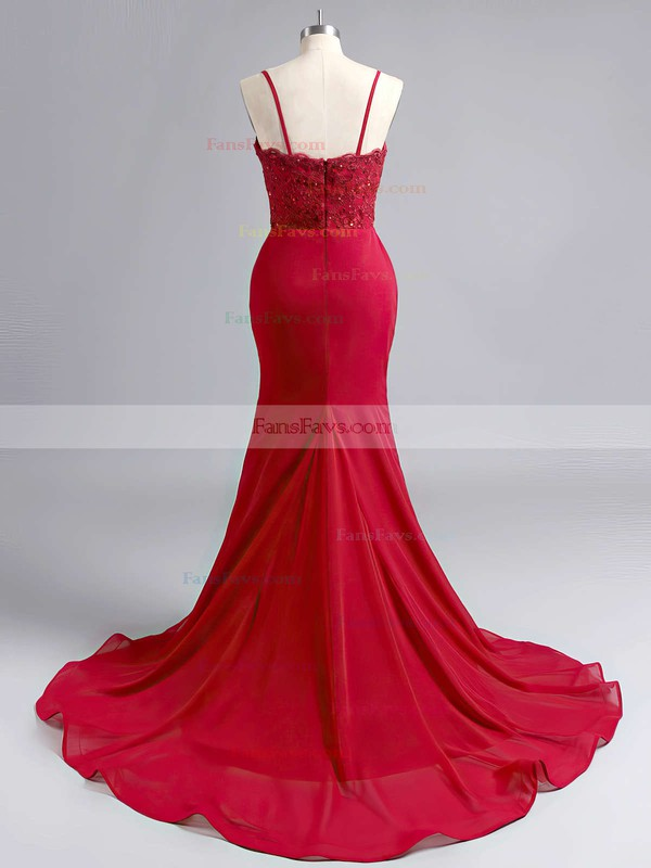 Sheath/Column Sweetheart Sweep Train Jersey Prom Dresses with Appliques Lace #Favs020102223