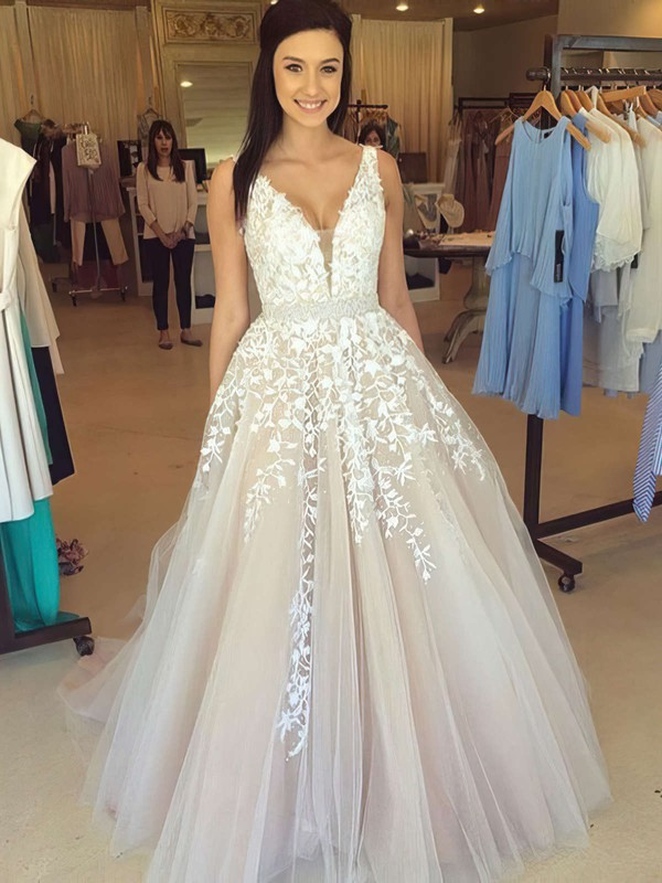 Ball Gown V-neck Tulle Floor-length Beading Prom Dresses #Favs020102479