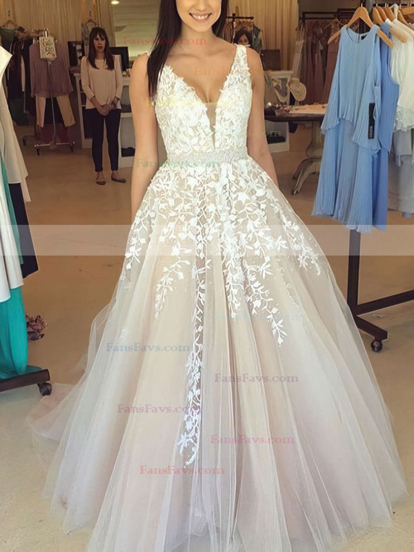 Princess V-neck Floor-length Tulle Prom Dresses with Appliques Lace Beading #Favs020102479