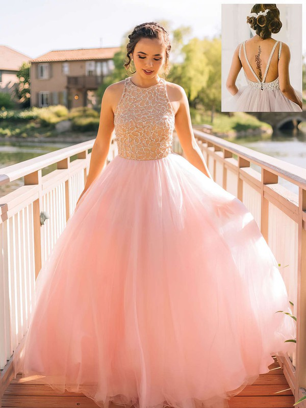 Princess Scoop Neck Floor-length Tulle Prom Dresses with Beading #Favs020102483