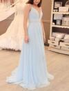 A-line V-neck Chiffon Sweep Train Beading Prom Dresses #Favs020105938