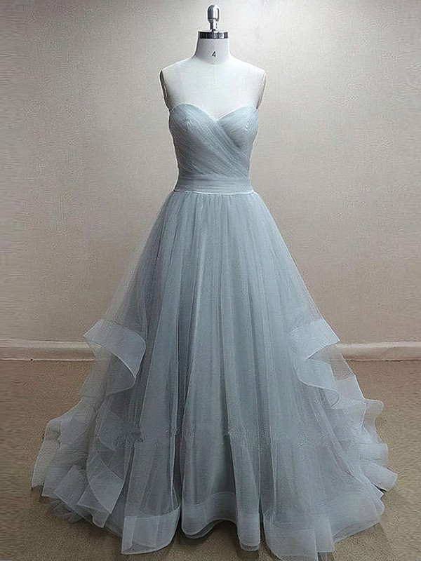 Princess Sweetheart Sweep Train Tulle Prom Dresses with Ruffle #Favs020102507