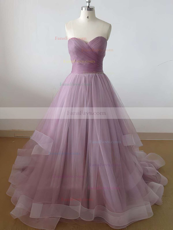 Princess Sweetheart Tulle Sweep Train Ruffles Prom Dresses #Favs020102507