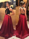 A-line Halter Sweep Train Satin Prom Dresses with Ruffle #Favs020105926