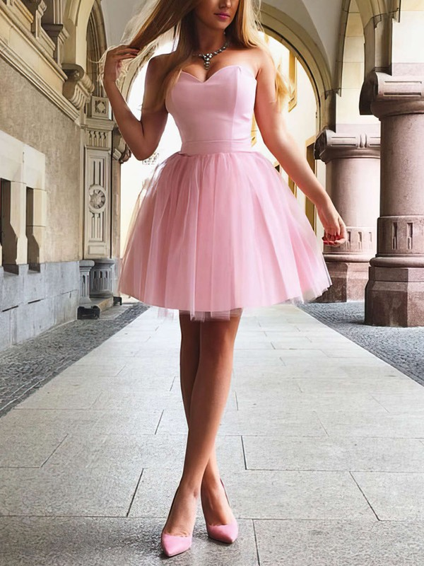 A-line Sweetheart Short/Mini Satin Prom Dresses with Ruffle #Favs020105931