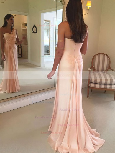 Sheath/Column One Shoulder Chiffon Floor-length Ruffles Prom Dresses #Favs020105944
