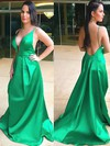 A-line V-neck Satin Sweep Train Prom Dresses #Favs020105927