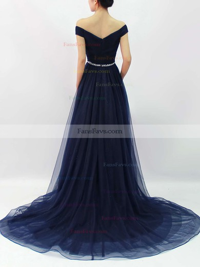 Ball Gown Off-the-shoulder Tulle Sweep Train Beading Prom Dresses #Favs020102612