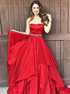 A-line Strapless Taffeta Floor-length Sashes / Ribbons Prom Dresses #Favs020105941