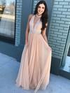 A-line V-neck Tulle Floor-length Beading Prom Dresses #Favs020105942