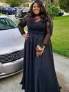 A-line Scoop Neck Chiffon Floor-length Appliques Lace prom dress #Favs020105954