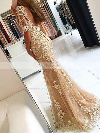 Trumpet/Mermaid Scoop Neck Tulle Sweep Train Appliques Lace Prom Dresses #Favs020102800