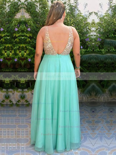 A-line V-neck Floor-length Chiffon Prom Dresses with Beading Split Front #Favs020105959