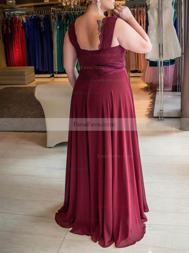 A-line V-neck Floor-length Chiffon Prom Dresses with Lace Ruffle #Favs020105975