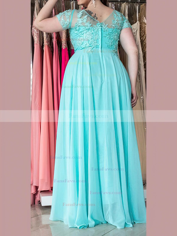 A-line Sweetheart Chiffon Floor-length Appliques Lace prom dress #Favs020105976