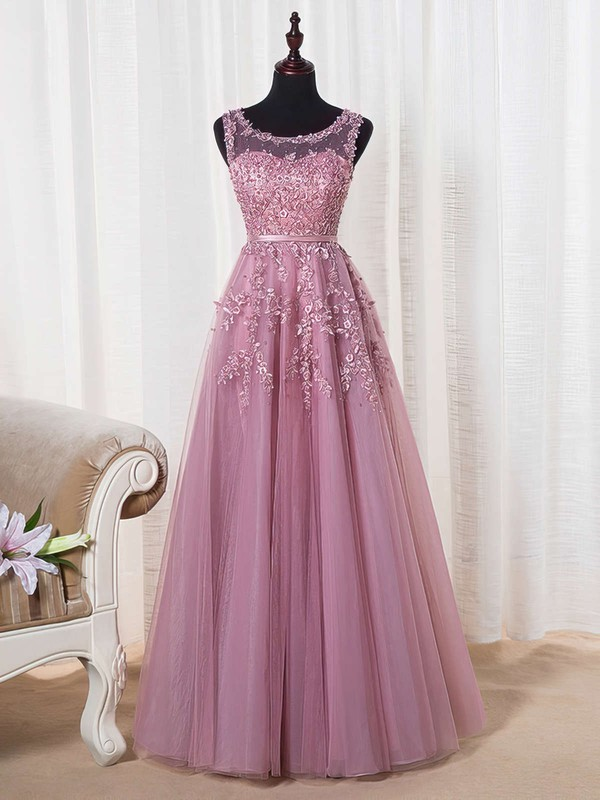 Princess Scoop Neck Tulle Floor-length Appliques Lace Prom Dresses #Favs020102804