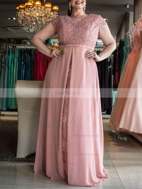 A-line Scoop Neck Chiffon Floor-length Lace prom dress #Favs020105987