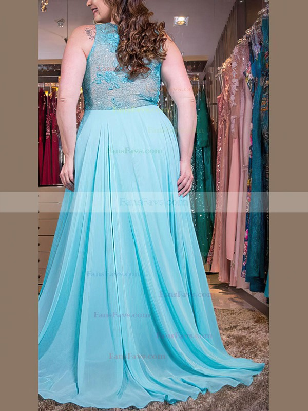 A-line Scoop Neck Chiffon Sweep Train Appliques Lace prom dress #Favs020105988