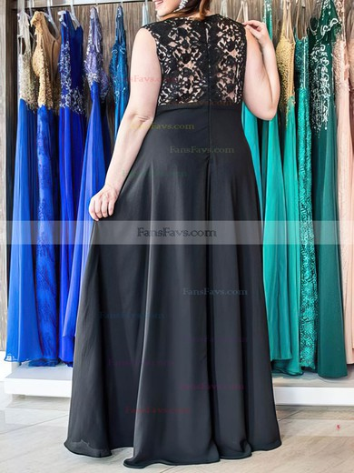 A-line V-neck Floor-length Chiffon Prom Dresses with Appliques Lace #Favs020105991