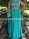 A-line Scoop Neck Chiffon Floor-length Beading prom dress #Favs020106011
