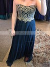 A-line Sweetheart Chiffon Floor-length Appliques Lace prom dress #Favs020106018