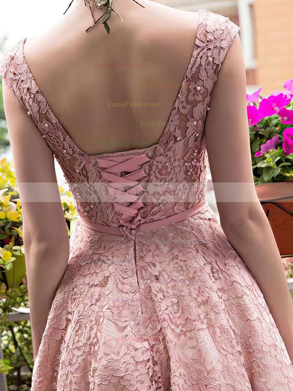 A-line Scoop Neck Tea-length Lace Prom Dresses with Sashes #Favs020102877