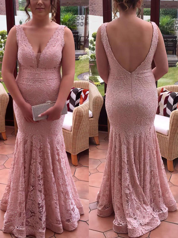 Trumpet/Mermaid V-neck Floor-length Lace Prom Dresses with Lace #Favs020106019