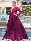 A-line V-neck Satin Floor-length Beading prom dress #Favs020105950