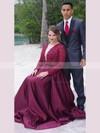 A-line V-neck Satin Floor-length Beading prom dress #Favs020105950