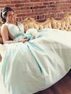 A-line V-neck Satin Floor-length Beading prom dress #Favs020105970