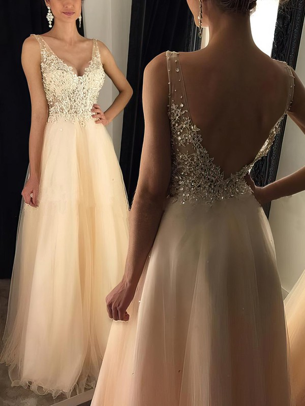 a49609e5f A-line V-neck Floor-length Tulle Prom Dresses with Sequins Appliques Lace