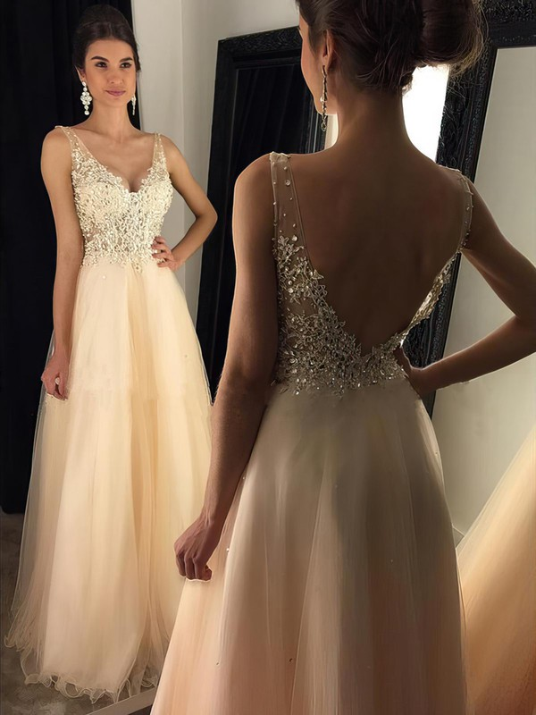 47c7d37c03 A-line V-neck Floor-length Tulle Prom Dresses with Sequins Appliques Lace