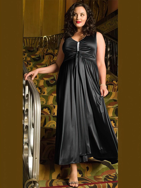 A-line Scoop Neck Satin Ankle-length Ruffles prom dress #Favs020105981