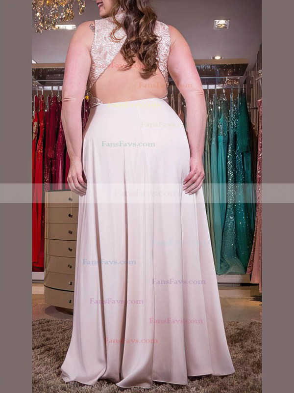A-line V-neck Satin Chiffon Floor-length Lace prom dress #Favs020105999