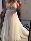 A-line Scoop Neck Tulle Floor-length Lace prom dress #Favs020105953