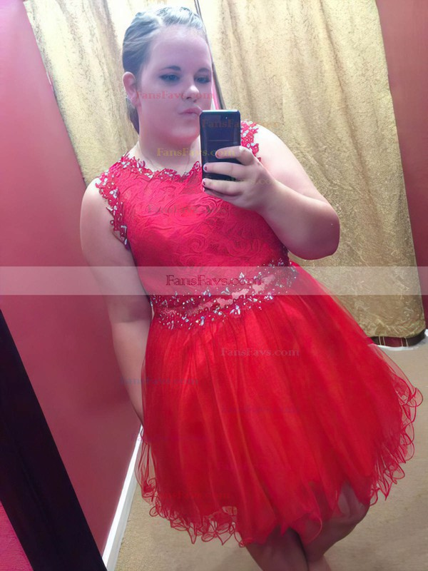 A-line Scoop Neck Tulle Short/Mini Lace prom dress #Favs020105973