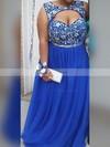 A-line Sweetheart Tulle Floor-length Beading prom dress #Favs020106006