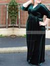 Sheath/Column V-neck Velvet Floor-length Ruffles prom dress #Favs020105993